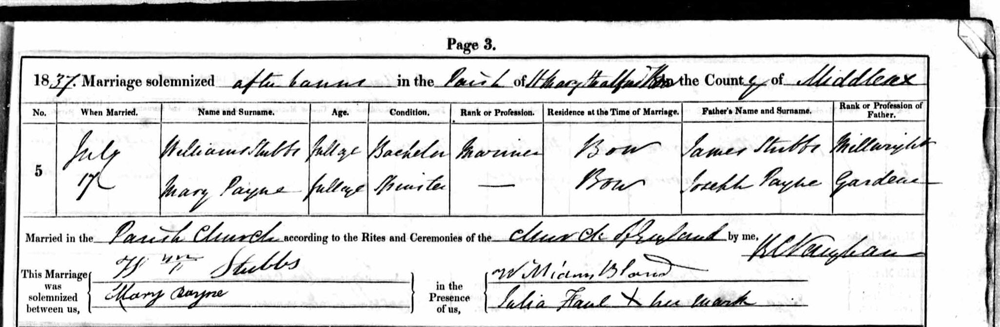Marriage record, William Stubbs and Mary Payne, 1837