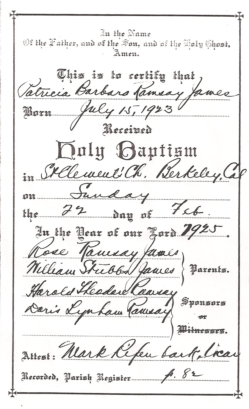 Baptismal record, Patricia Barbara Ramsay James