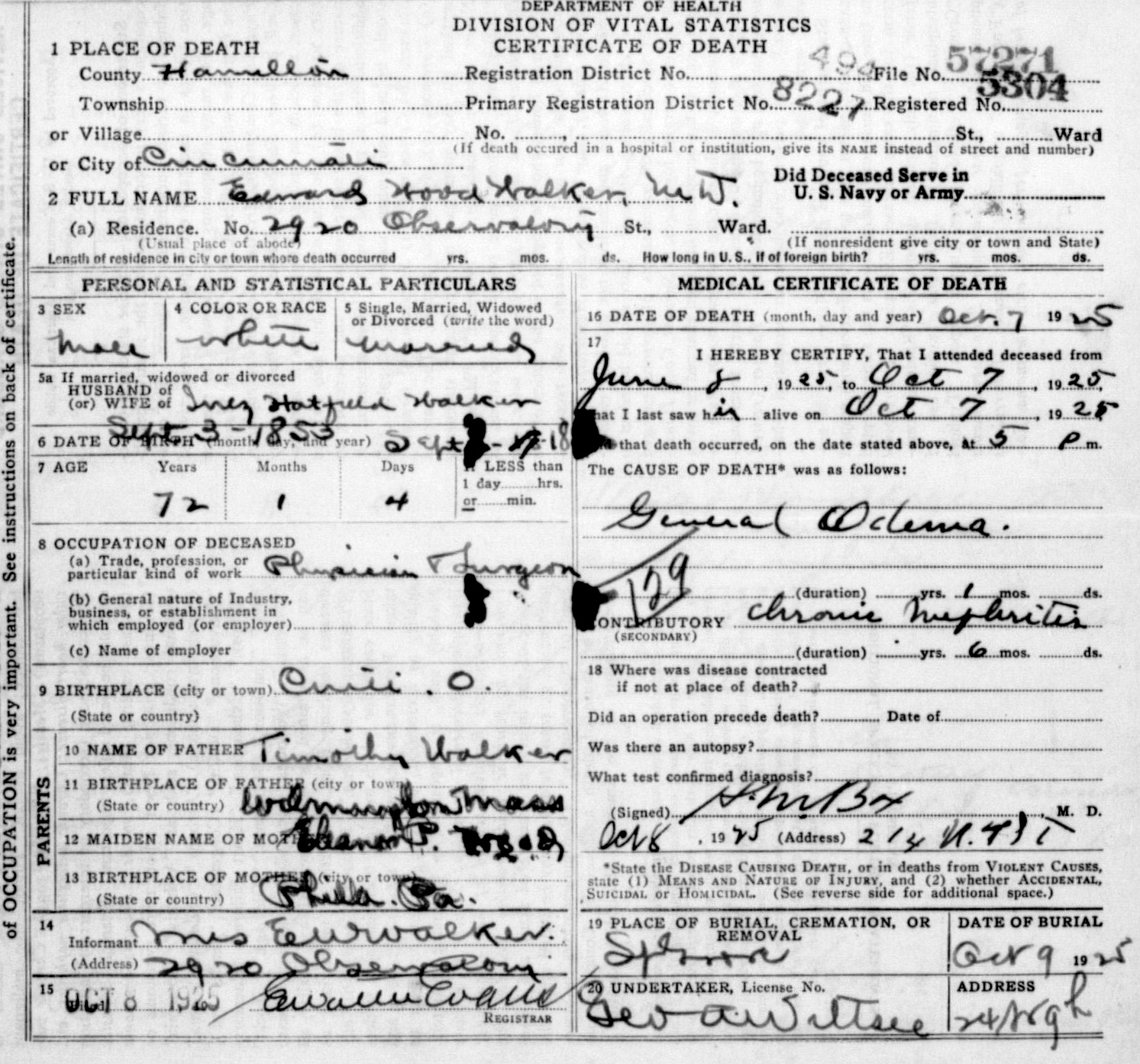 Death certificate, Edward Wood Walker